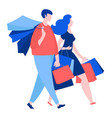 woman and man walking with purchase buy paper vector image vector image