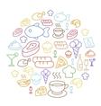 Set of flat food icons drawing line Circular vector image