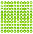 100 gift icons set green circle vector image vector image