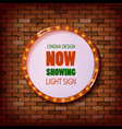 3d render marquee light circle board sign vector image vector image