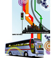 abstract hi-tech background with city bus image vector image vector image