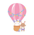 baby shower cute bunnies in air balloon vector image vector image