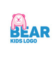 bear logo for kid and children vector image vector image