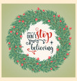 beautiful christmas card with wreath and wishes vector image vector image