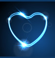 blue heart glowing neon effect abstract vector image