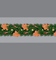 border with gingerbread man christmas tree vector image