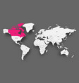 canada pink highlighted in map of world light vector image vector image