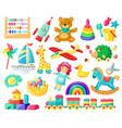 cartoon batoys child toys bear doll logic vector image vector image