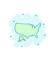 cartoon colored america map icon in comic style vector image vector image