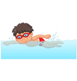 Cartoon little boy swimmer in the swimming pool vector image vector image