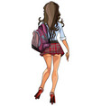cartoon sexy girl in a short skirt back view vector image