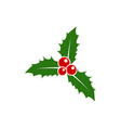 christmas leaf and berry icon vector image vector image