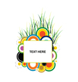 circle and grass with banner text vector image