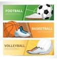 concept sport banner football basketball field vector image