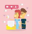 couple on social networks vector image vector image