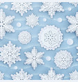 cover with papercut snowflakes layered vector image vector image