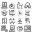 cyber attack and virus digital protection icons vector image