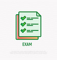 exam thin line icon list with checkmark vector image