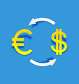 exchange money icon in paper art style vector image