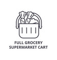 Full grocery supermarket cart line icon outline