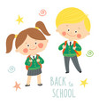 funny hand drawn kids in school uniforms with vector image vector image