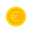 gold euro coin in flat style vector image vector image