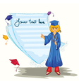 graduated girl with blank page vector image vector image
