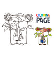 grandmother and sunflower cartoon coloring page vector image vector image