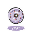 hand drawn glazed donut with pink hearts vector image vector image