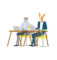 hipster animal sitting and using laptop vector image vector image