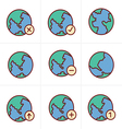 Icons Style Earth icons set vector image vector image