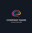 initial letter e inside colorful brain logo vector image