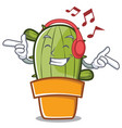 listening music cute cactus character cartoon vector image vector image