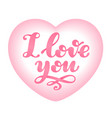 love word lettering isolated on pink heart shape vector image