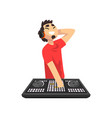 male dj mixing music on vinyl turntables young vector image vector image