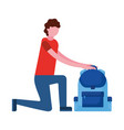 man on the knee with backpack vector image