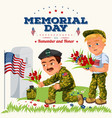 memorial day greeting card american veterans lay vector image