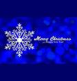 Merry Christmas blue background with silver vector image
