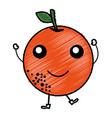 orange citrus fruit kawaii character vector image