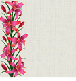 Pale background with red tiger lily flowers leaves vector image vector image