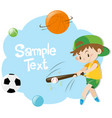 paper template with boy playing baseball vector image vector image