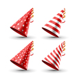 Party hat set isolated on a white Birthday hat set vector image vector image