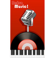 Retro music with microphone and recorder vector image vector image