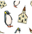 seamless pattern penguin and chapel merry vector image vector image