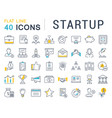 set flat line icons startup vector image