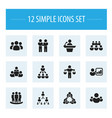 set of 12 editable team icons includes symbols vector image vector image