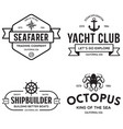 set of sea and nautical typography badges and vector image