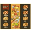 Set whole pizza isolated flat vector image vector image
