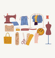 sewing icon collection vector image