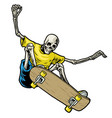 skull skateboarder jumping in action vector image vector image